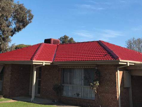 Full roof restoration with red cement tiles